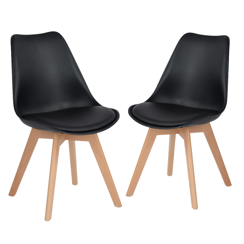 Set of 2 Tulip Dining/Office Chair with Solid Wood Beech Legs, Eggree Armless Padded Design Chairs for Extra Comfort - Black