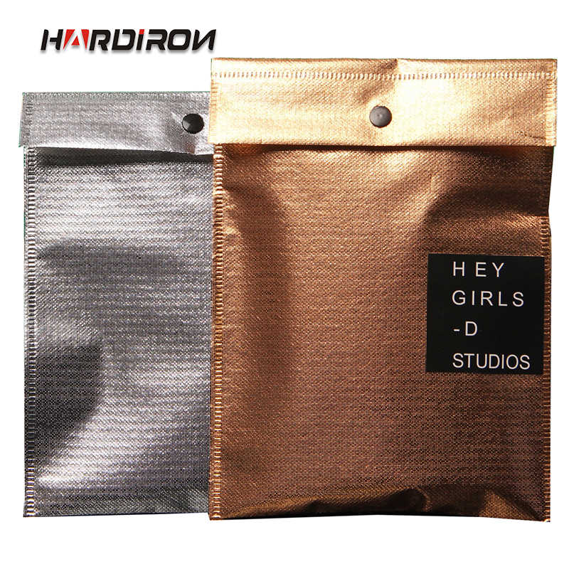 HARDIRON Gold and Silver Reinforced Non-woven Sealing Bag for High-grade Men's T - shirt Button Packing Bag 100PCS