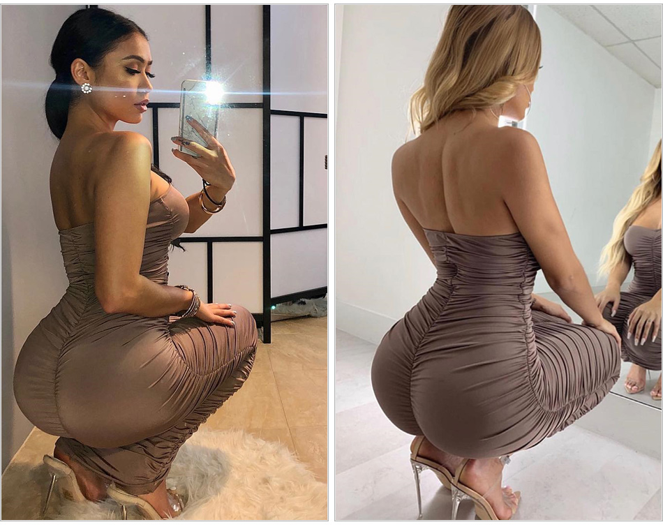 Chic Kylie Jenner Clingy Maxi Dress 2019 Hot New Strapless Ruched Skintight Long Dress Sexy Designer Fancy Asymmetric Hem Gown - kylie-jenner-outfits