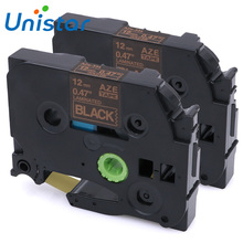 Unistar 2pcs TZe-334 Compatible Brother P-touch Tape 12mm Gold on Black Laminated Label Ribbons TZ Tape 12mm TZe 334