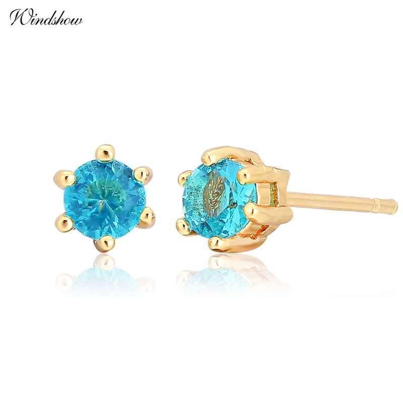 Six Claw Round Ocean Blue Crystal Mini Small Stud Earrings For Women Kids Girls Baby Child Piercing Jewelry Gold Color Aros 4mm