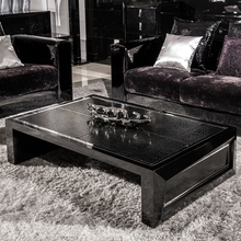modern living room furniture grass painting black color leather top tea table home furniture wooden