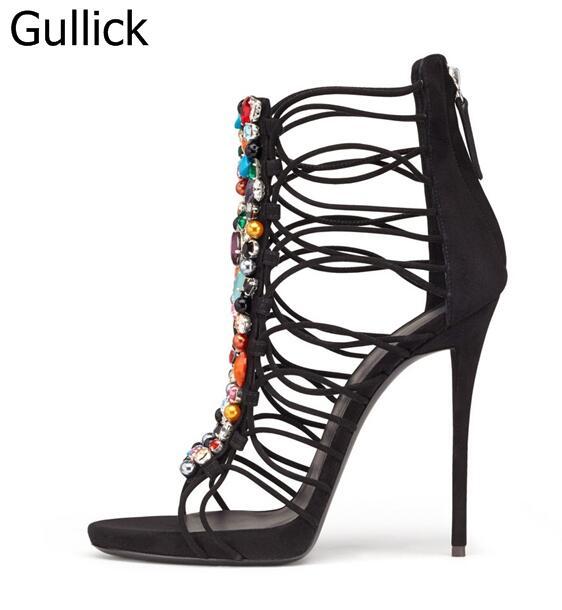 где купить Hottest Selling Women Solid Black Flock Leather Hollow Out Peep Toe Sandal Summer Fashion Colorful Crystal Decoration High Heels по лучшей цене