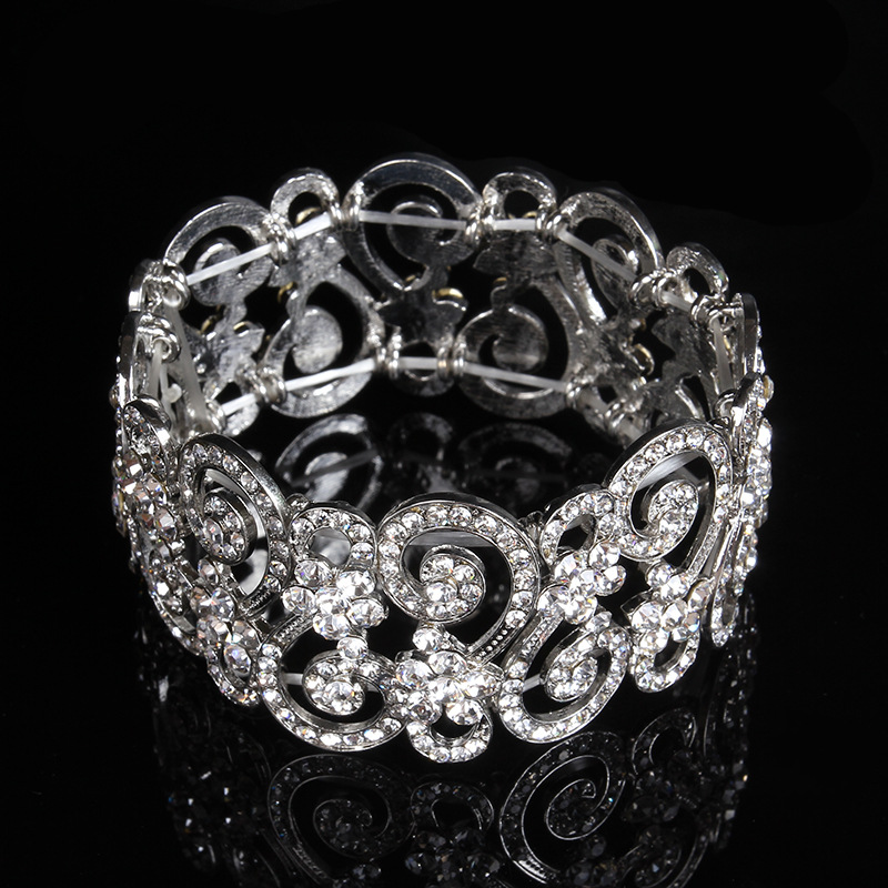 Fashion Jewelry Plated Silver Crystal Openwork Bracelets Gift Summer Elastic Wrist Band Bride Wedding Party Accessories Bangle