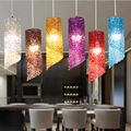 Minimalist Style LED droplight Colorful Aluminum Wire Round Pendant Lamp Cafe Bars