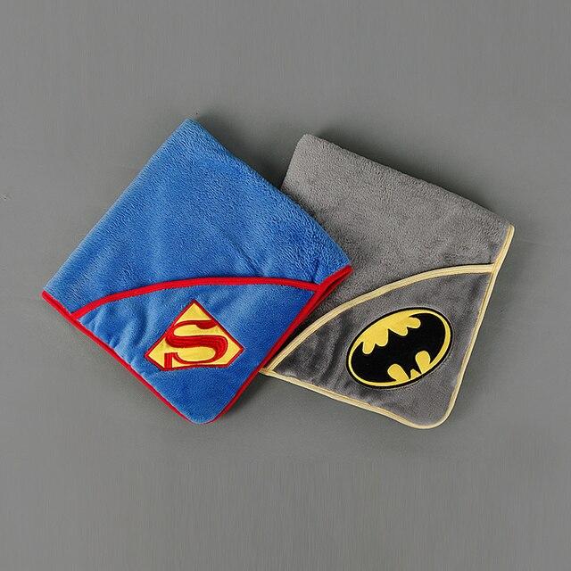 Cartoon batman superman fashion kids Autumn winter baby plus velvet bag infant children blanket package towel blanket 16O101