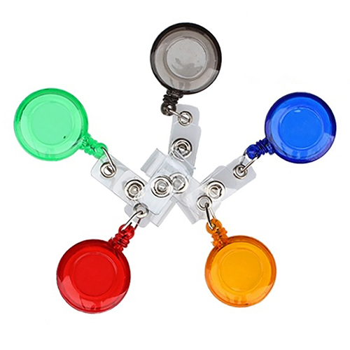 5Pcs Set Retractable Key Name Tag ID Card Belt Clip Holders Round Badge Reels Key Chains
