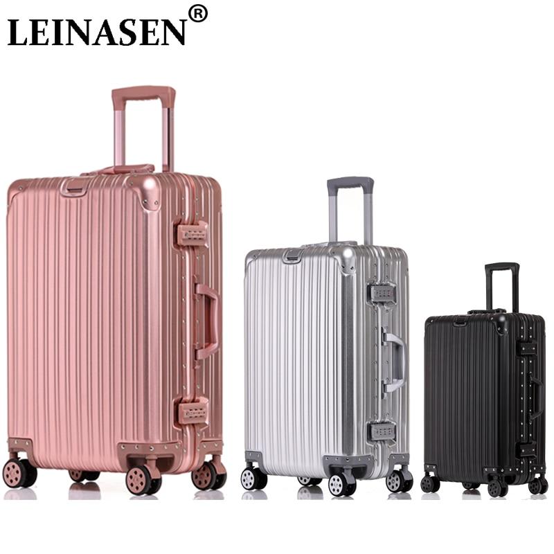 100% Aluminium Reise Koffer Auf Rädern Spinner Trolley Roll Gepäck Frauen Carry-ons Koffer Männer Der Kabine Gepäck Rosa