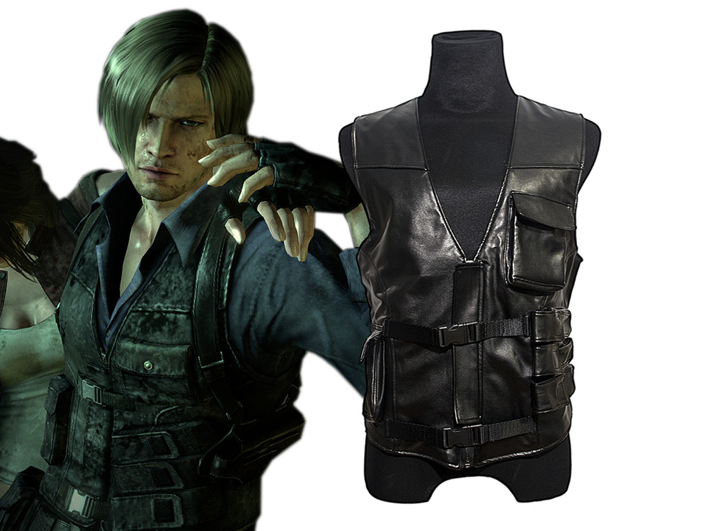 2016 Resident EVIL 6 Leon Kennedy PU Faux Vest Leather Cosplay Costume