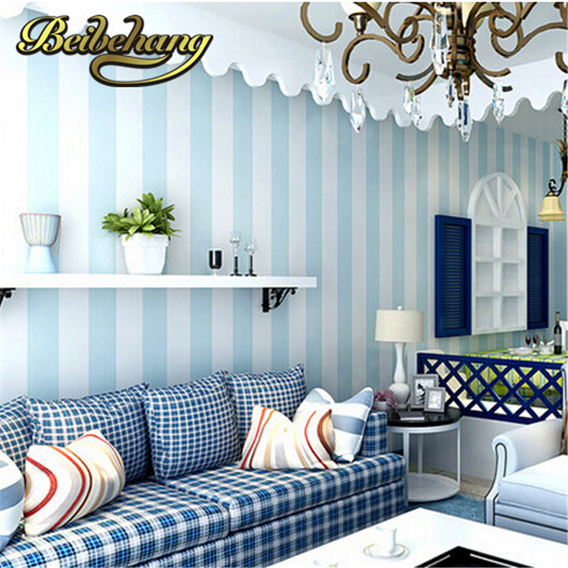 ФОТО beibehang wallpaper Cozy Bedroom Vinyl Wallpaper Blue White Stripe Wall paper Wallpaper Roll Modern Feature Vertical Striped