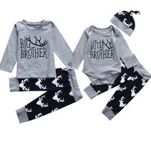 2017 Autumn Brothers Match Clothes Little Brother Romper Big Brother T-shirt Tops+Deer Long Pant Hat Family Match Clothing