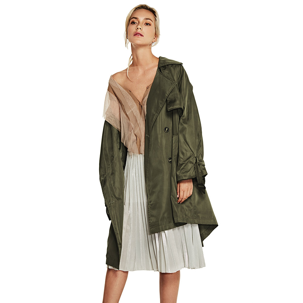 Vers Solide Boutonnage Manches Manteau Casual Double Outwear Bas Classique À Green Tournent Kenancy light Ceinturé Le Femmes Khaki Black vent Trench Pleine Boutons army Coupe xX0n7pTfF