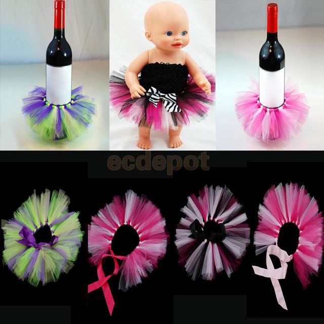 5b4e166d32 Creative Tulle Wine Bottle Tutu Skirt Bottle Dress Up Wedding Party Table  Decoration