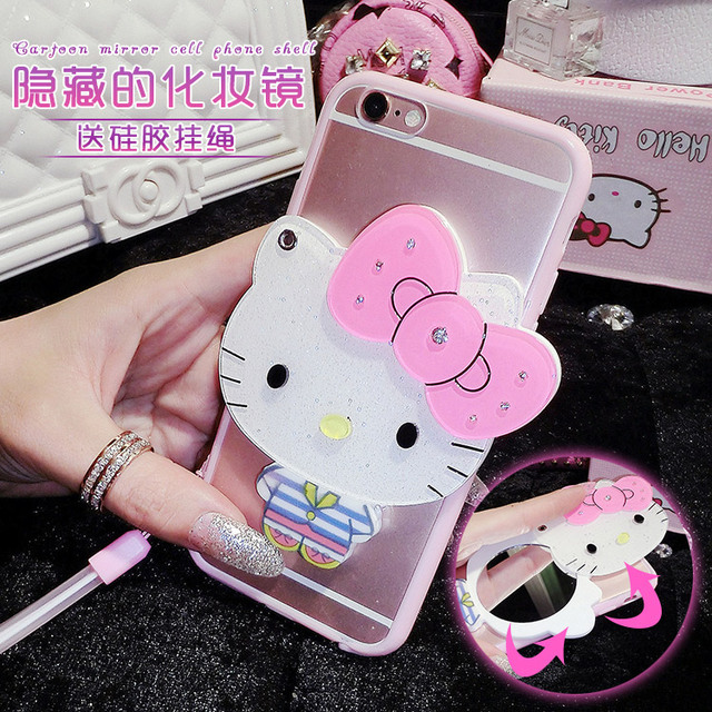new product 52ebb 588f5 For Samsung Galaxy Note 5 Note 4 Note 8 Note9 Note3 Phone Case Lovely Hello  Kitty Mickey Mouse With Mirror PC+TPU Back Cover