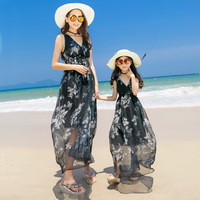 Summer Flowers Print Mom and Daughter Dresses Family Matching Clothes Outfits Mother Daughter Strap Dress Baby Girls Beachwear