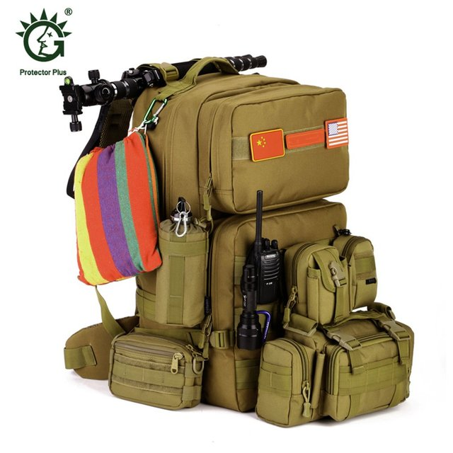 a6c2b4ab0d94 OUTAD 55L Large Size Military Tactical Backpack Army Molle Waterproof  Outdoor Bag Small Rucksack for Outdoor Hiking Camping