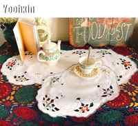 Luxus Spitze Stickerei tischdecke tischdecke kaminsims Weihnachten Oval teetisch Abdeckung nappe dining hotel küche hochzeit decor