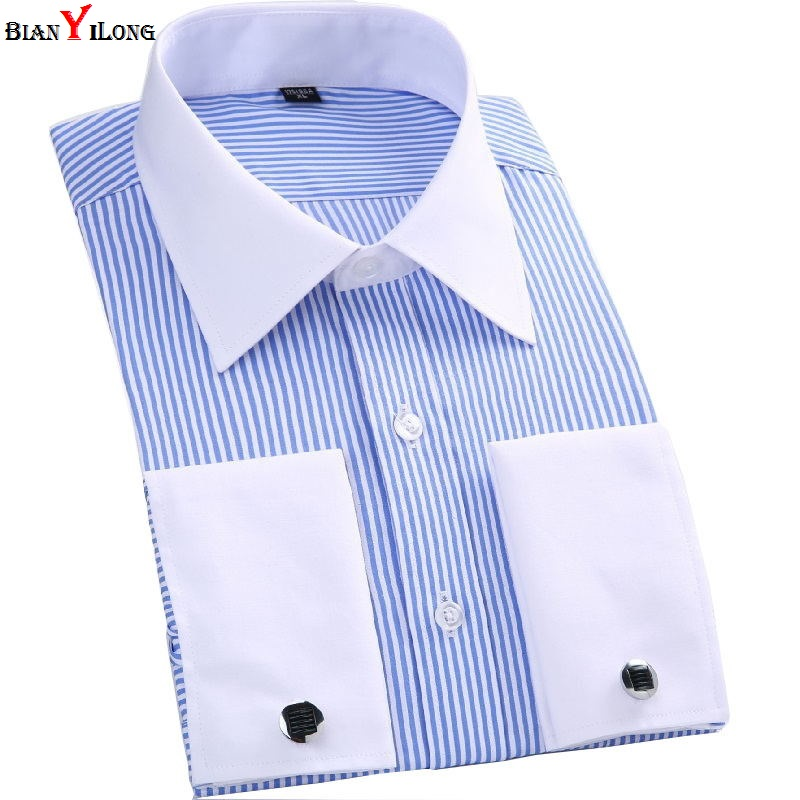 French Cuff Button Men Dress Shirts Classic Long Sleeve Brand Formal Business Fashion Casual Shirts Camisa Masculina Cufflinks