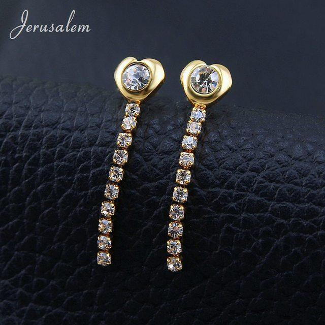 ITALINA 925 Sterling Silver Fine Crystal Women Long Earrings 2.36' Long qg20vlKY1