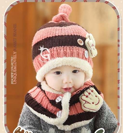 c7a1bdabe Online Shop 2Pcs Baby Hat Winter Knitted Cap + Scarf Warm Cute ...