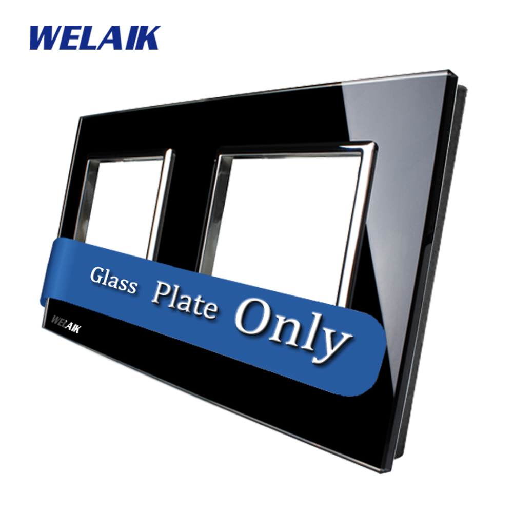 WELAIK  Touch Switch DIY Parts  Glass Panel Only of Wall Light Switch Black  Crystal Glass Panel Square hole  A288B1 only a promise