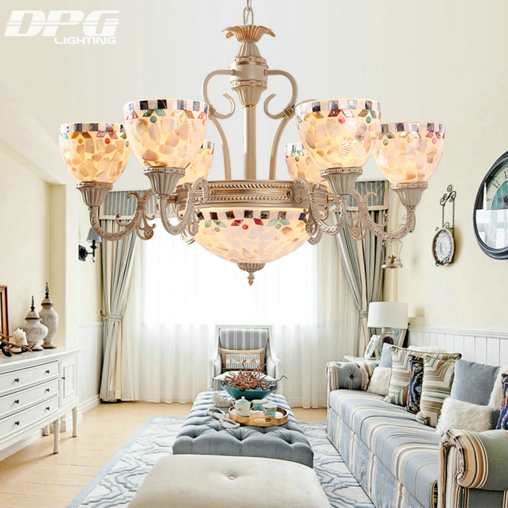 Vintage tiffany style chandeliers lamp with 110v 220v 3 5 6 8 E27 Base lights for living room bedroom