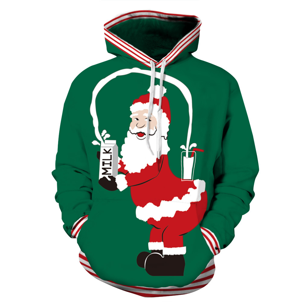 Hipster Cute Christmas Cute Santa Claus Milk 3D Print Hoodies Men/women Gothic Streetwear Jacket Boys Green Tracksuits Outfits