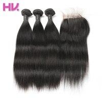 Волос вилла перуанский Weave волос девственницы с Синтетическое закрытие волос необработанные прямо Человеческие Волосы Связки с Синтетичес