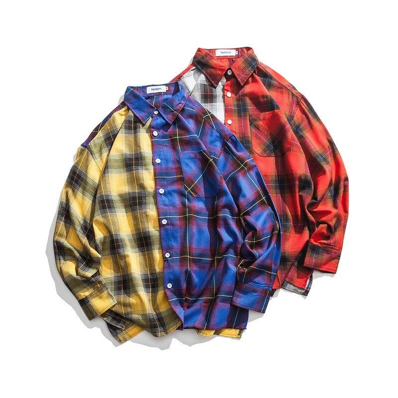 Ulzzang chemise à carreaux homme Harajuku style ample chemise à manches longues à carreaux style japonais veste de couture décontracté