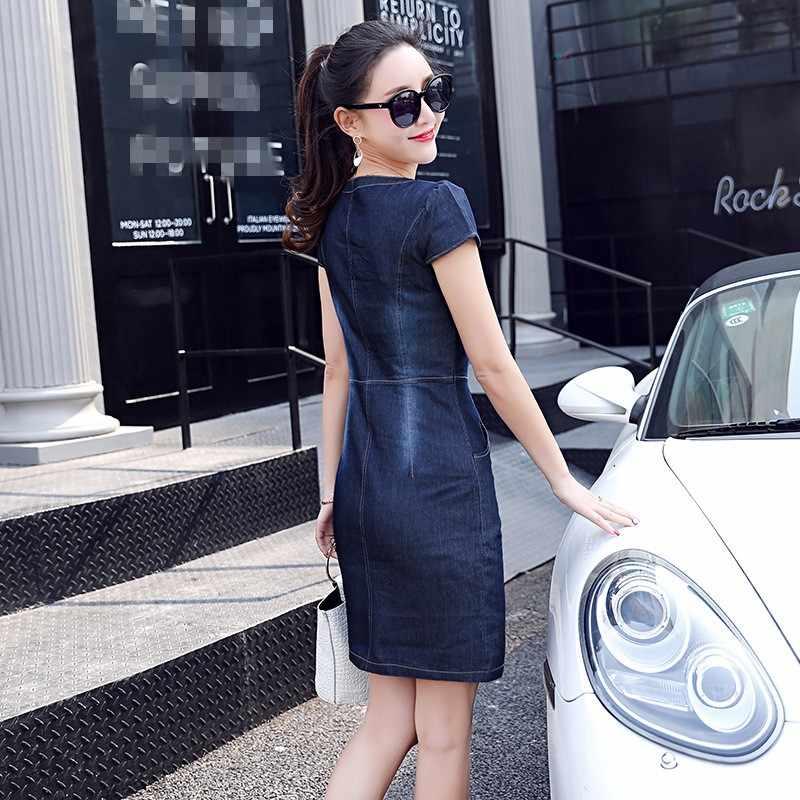 Офисные женские туфли Для женщин пикантные элегантные короткий рукав пояса прямые платья джинсовое v-образным вырезом Модные женские роковой Vestidos тонкий