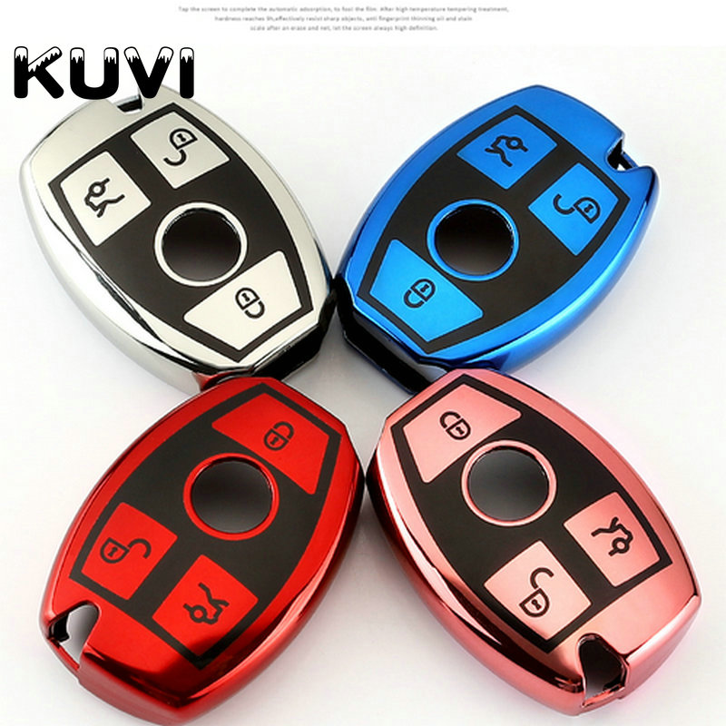 Tpu Key Cover Case For Mercedes Benz Keychain Keyring For CLS CLA GL R SLK AMG A B C S Class Key Shell Programmer