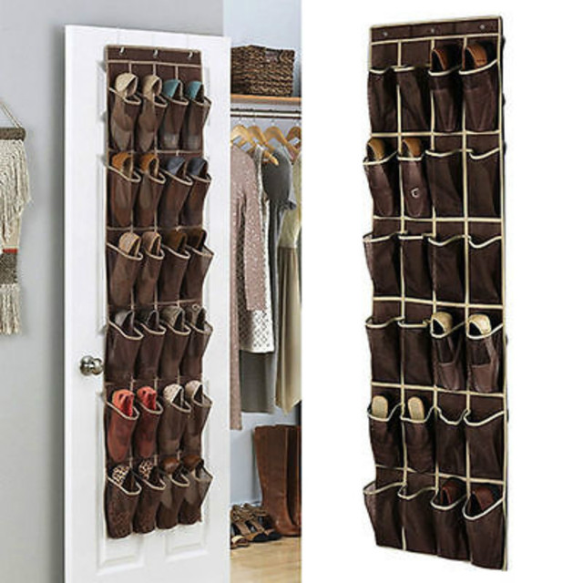 24Pockets Grid Shoes Home Door Hanging Organizer Storage Wall Bag Holder  Rack Closet Space Saver Vacuum