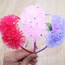 Детские однотонные Цвет шифон головная повязка с цветами милое и сердечком и повязка на голову, модная лента для волос, со стразами повязка на волосы для девочек аксессуары для волос