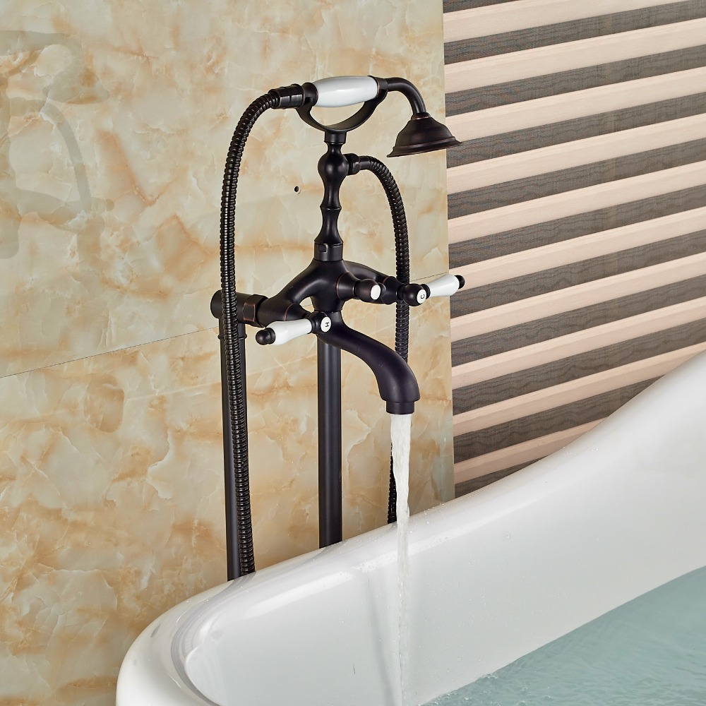 Minyak Menggosok Perunggu Kamar Mandi Lantai Mounted Tub Alat Potong Granite Ampamp Keramik 100cm Filler W Tangan Shower Sprayer Gaya