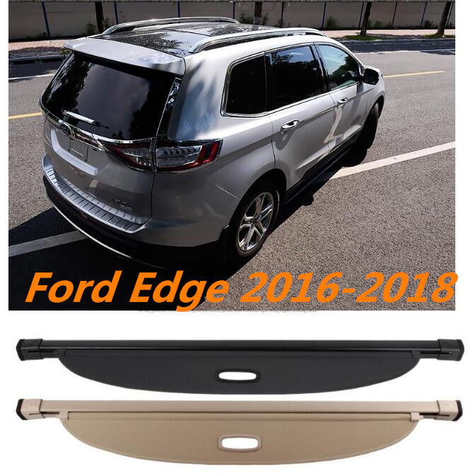 JIOYNG Car Rear Trunk Security Shield Shade Cargo Cover For 16 17 18 Ford Edge 2016 2017 2018 (Black beige) BY EMS