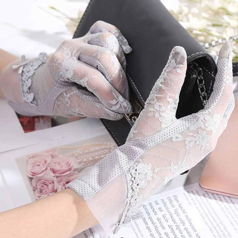 新しい夏薄型セクションタッチスクリーン手袋屋外通気性日焼け手袋抗 UV レースエレガントな女性グローブ