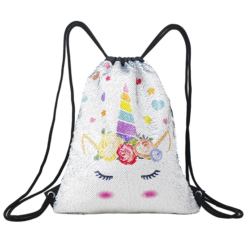 3D Printing Unicorn Sequins Drawstring Bag for Girls Travel Beach Storage Package Kids Cartoon School Backpacks Children Party in Drawstring Bags from Luggage Bags