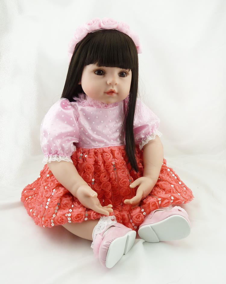 22 Inch Silicone Vinyl Reborn Baby Doll Adorable Long Hair Princess Doll Girls Toys Reborn Toddler Play Doll Christmas Present 28 inch vinyl big size reborn toddler baby dolls arianna series wearing christmas dress princess xmas doll toys