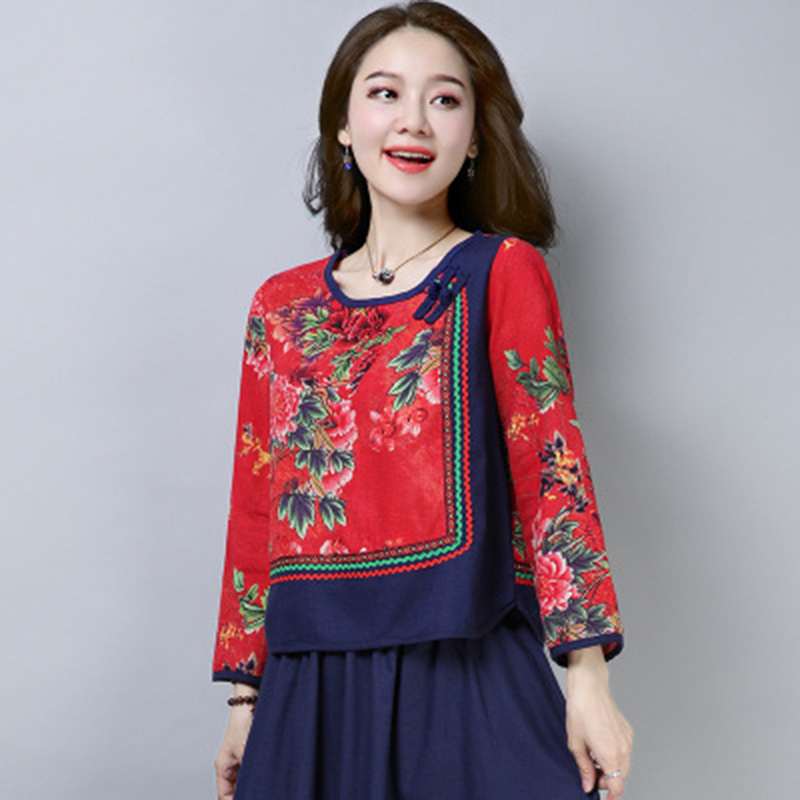 Traditional Chinese Clothing For Womens Tops And Blouses Linen Shirt Oriental Female Cheongsam Top China Clothing TA1122