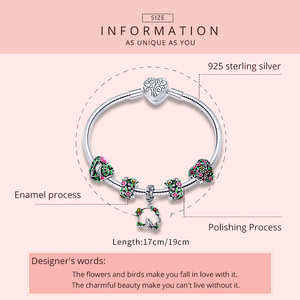 Image 2 - BAMOER Real 925 Sterling Silver Spring Flower Colorful Enamel Charm Bracelets & Bangles for Women Sterling Silver Jewelry SCB804