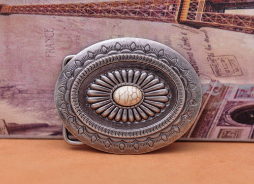 Huge Vintage Tribal Floral Engraved Turquoise Bead Leathercraft Handmade Belt Buckle Replacement