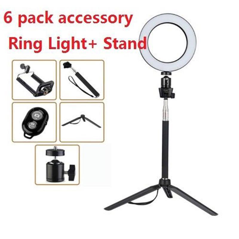 14.5/16/20cm Dimmable LED Ring Novelty Light Selfie Light Lamp Photo Camera Live Fill-in Light Mini Tripod Bluetooth Shutter