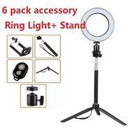14.5/16/20cm Dimmable LED Ring Novelty Light Selfie Light Lamp Photo Camera Live Fill in Light Mini Tripod Bluetooth shutter
