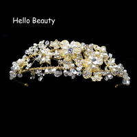 Western Wedding Hair Accessories Jewelry Handmade Gold Crystal Pearl Vine Flower Crown And Tiara Baroque Bride