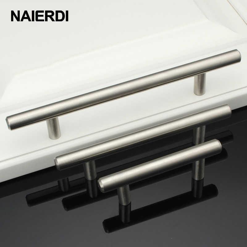 "NAIERDI 2 ""24 24"" gabinete de acero inoxidable manijas diámetro 10mm cocina puerta T Bar manija recta tirador herrajes para muebles"