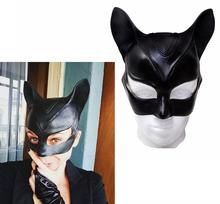 Czarny Catwoman maska rekwizyt Cosplay dorosły superbohater miękki lateks półmaska kot dziewczyna Cosplay maska na oczy pół maska lateksowa Cosplay tanie tanio Maski WOMEN Latex Kostiumy