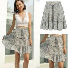 Boho Floral Print Pleated Skirt Women 2019 Chiffon Ruffle Summer Beach Girls Casual Skirt ruffle trim asymmetric floral skirt