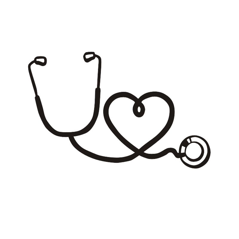 Stethoscope and heart vinyl decal doctor nurse hospital ...