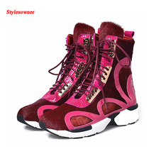 Stylesowner Horsehair Shoes Boots Lace Up Leisure Breathable Fashion New Design Traveling Shoes Jogging Shoes For Women