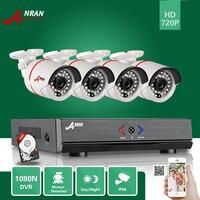 ANRAN Surveillance 4CH HD 1800N AHD DVR 500GB HDD 1800TVL 720P 24IR Outdoor Waterproof Video Security
